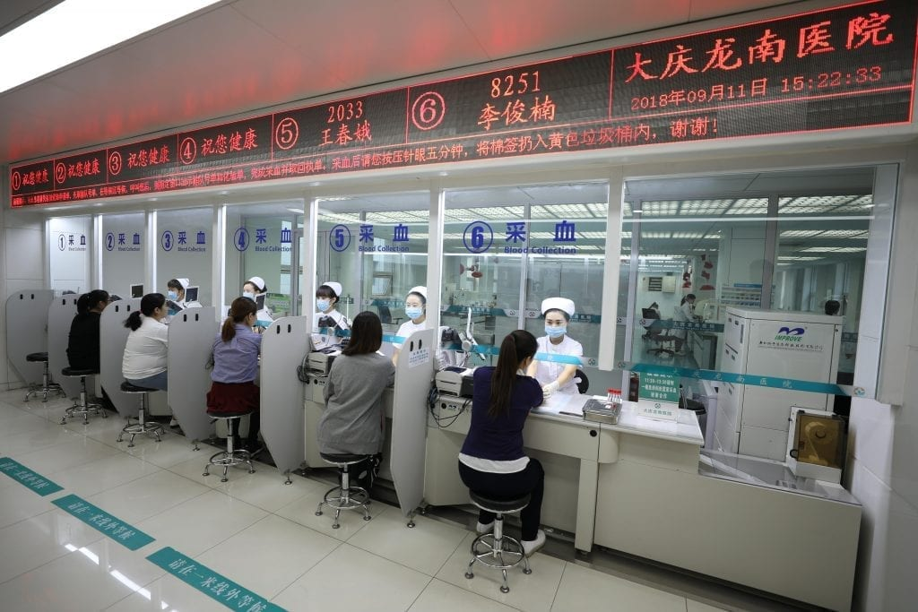 Patients visiting a hospital in China using Lenovo Smart Medical.
