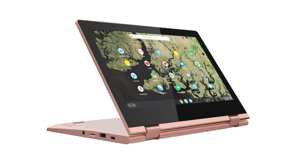Lenovo Chromebook C340 hooks you up with two USB-C ports (11-inch model pictured in Sand Pink).
