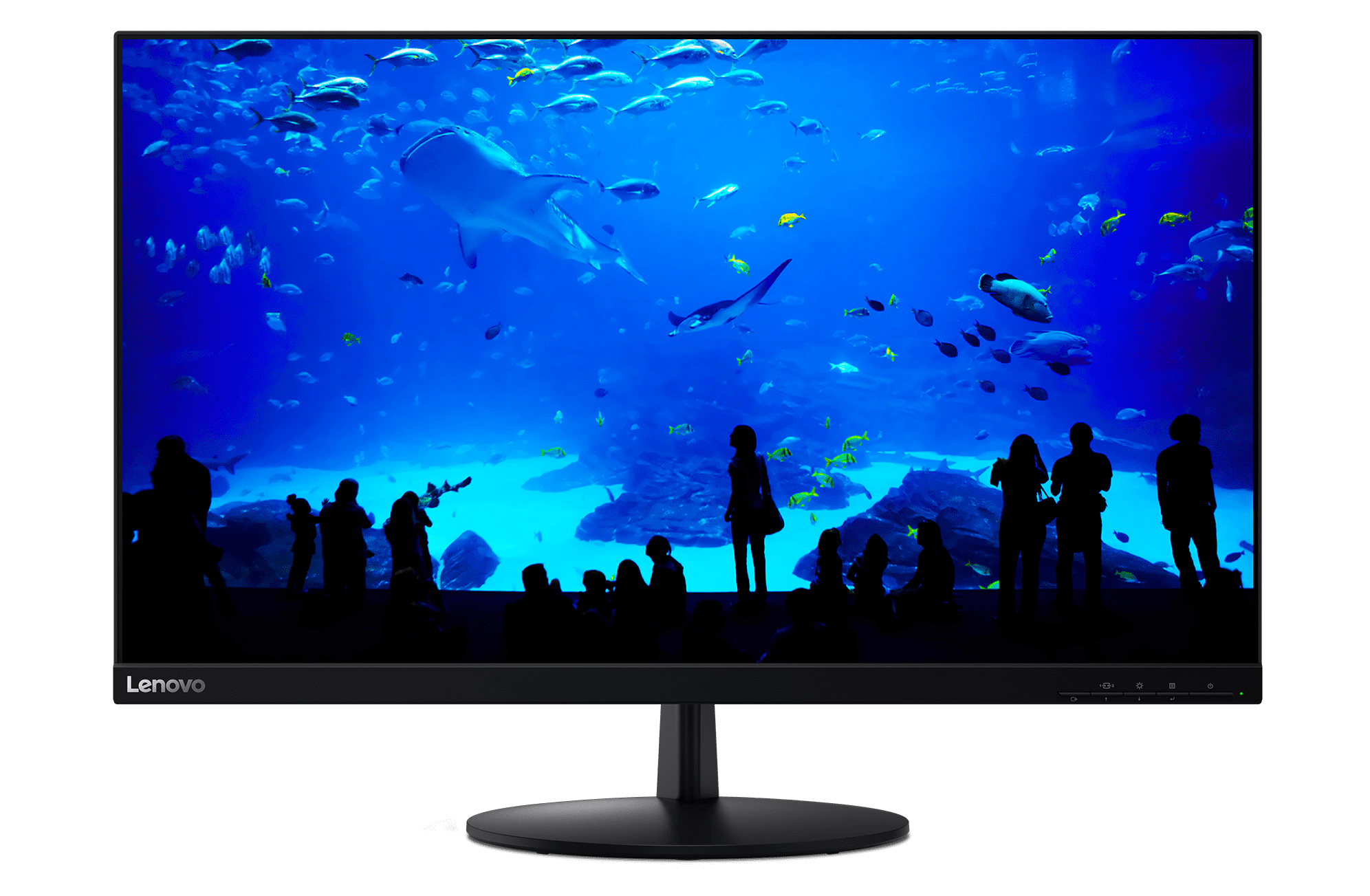 Offered in Raven Black, the Lenovo L28u Monitor sports more screen area than before.