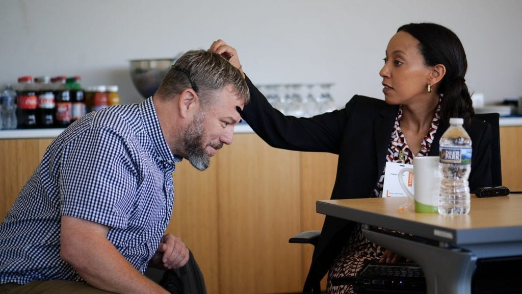 Haben Girma with Lenovo engineer Thorsten Stremlau