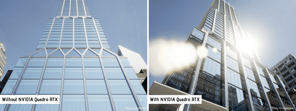 Architectural renderings with and without NVIDIA Quadro RTX
