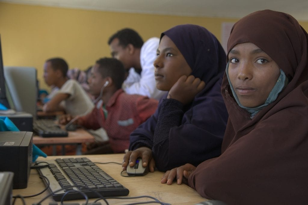 Ethiopia children in a computer lab.