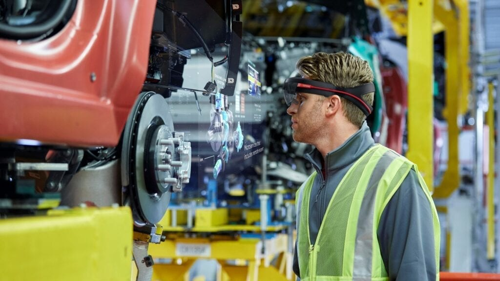 ThinkReality A6 in use for manufacturing large machinery