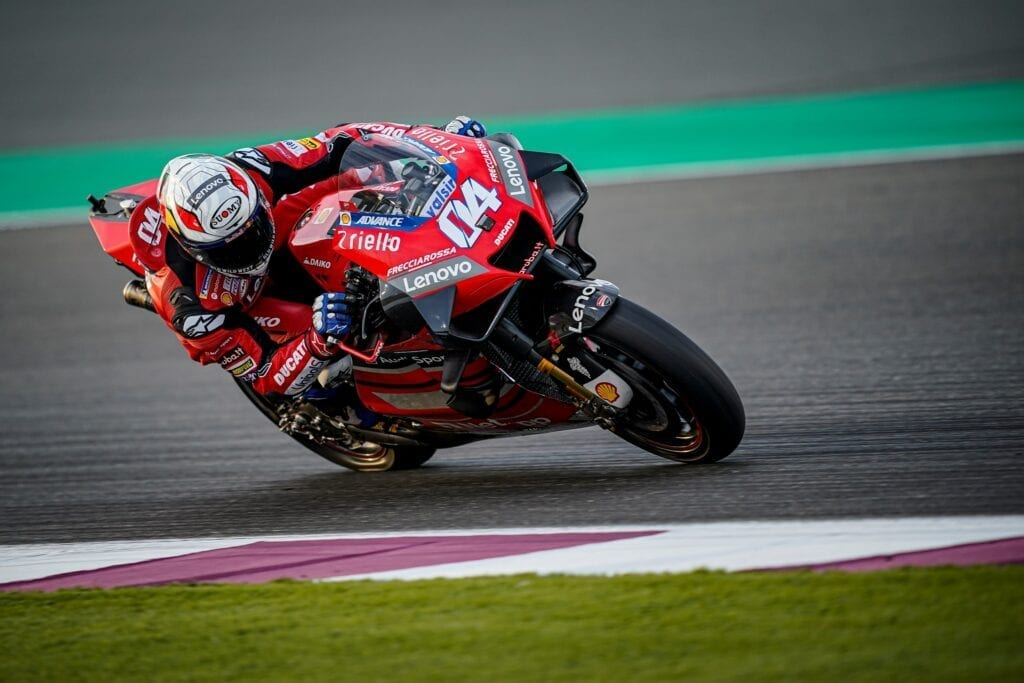 Ducati bike making a tight turn on a racetrack