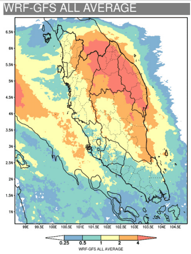 WRF-GFS weather forecasting map