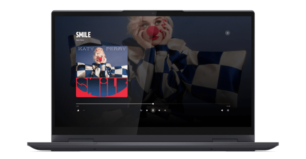 Amazon Music Unlimited service seen on a Lenovo laptop
