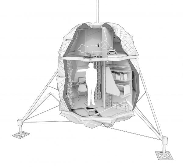 Illustration of the Lunark module with a cutaway showing the scale with a human outline more than half the height of the interior.