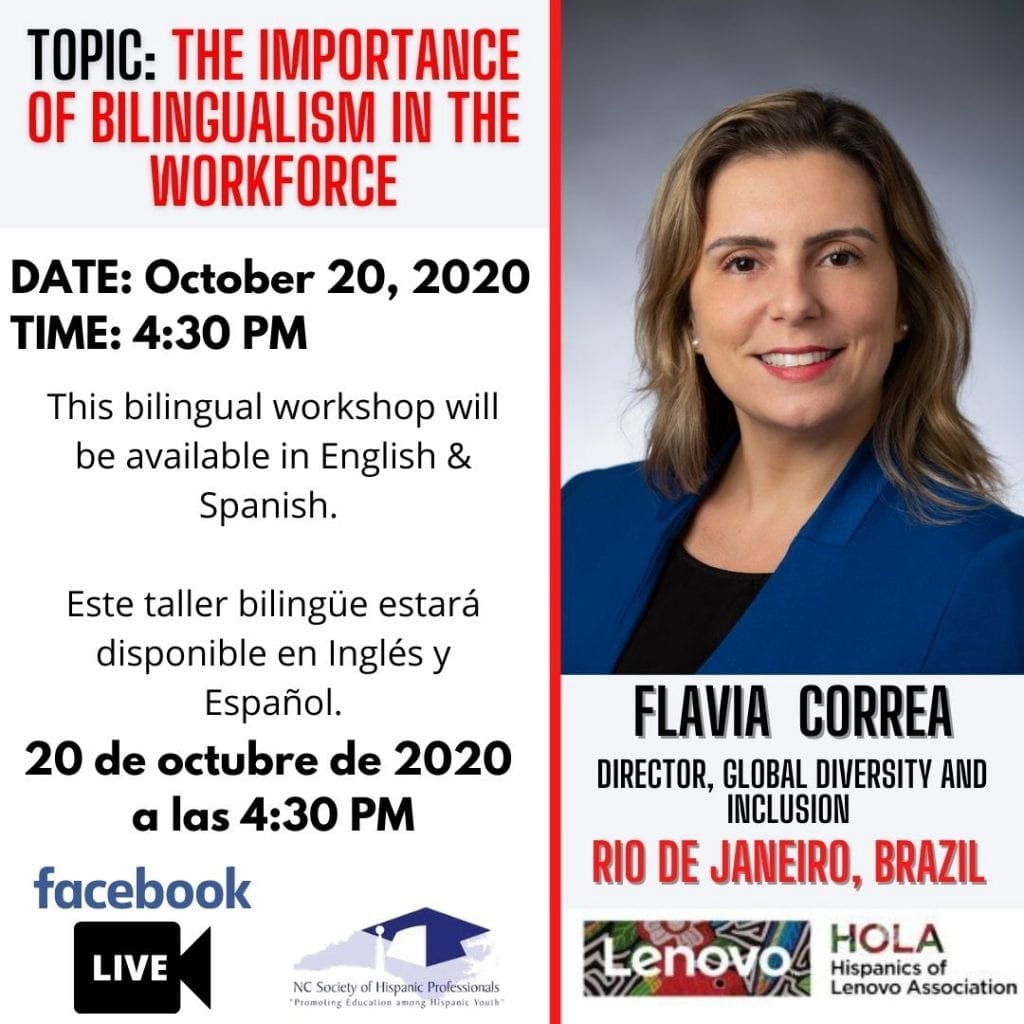 "Flyer for ""The importance of bilingualism in the workforce"" with speaker Flavia Correa"