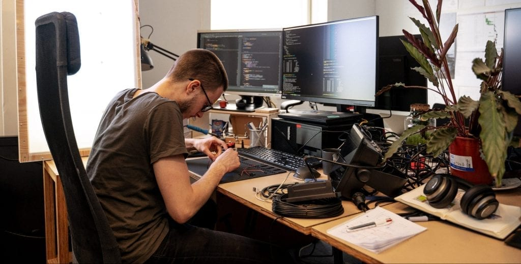 "Simon working on ODIN: the Lenovo-powered ""brains"" of the Lunark module."