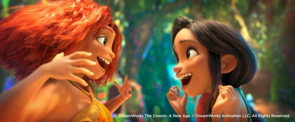 DreamWorks animation still of two characters smiling at each other.