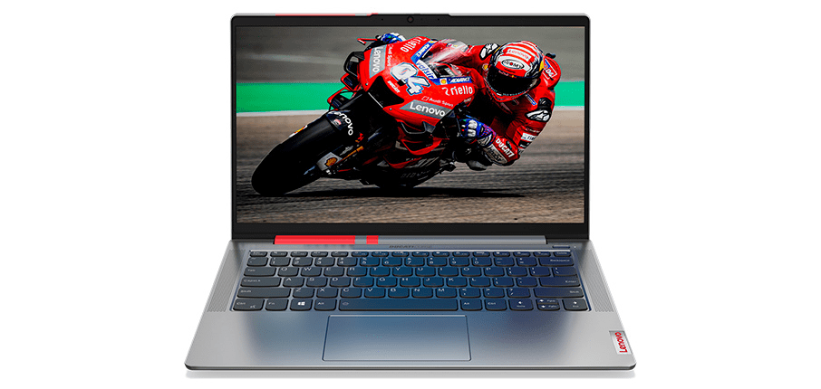 The Lenovo Ducati 5 laptop with Ducati racer seen on the screen