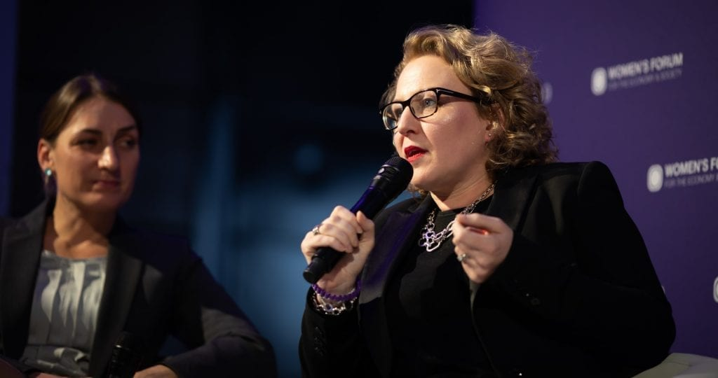 Lenovo's Fiona O'Brien speaking on a panel at the Women's Forum Global Meeting in 2019.