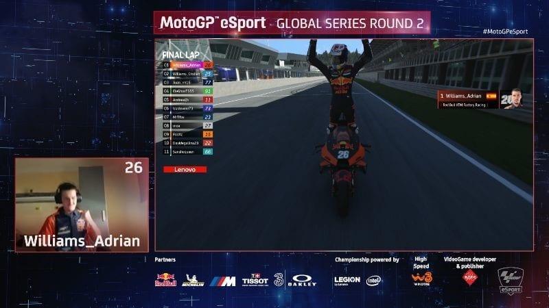 MotoGP eSport screenshot of virtual race victory.