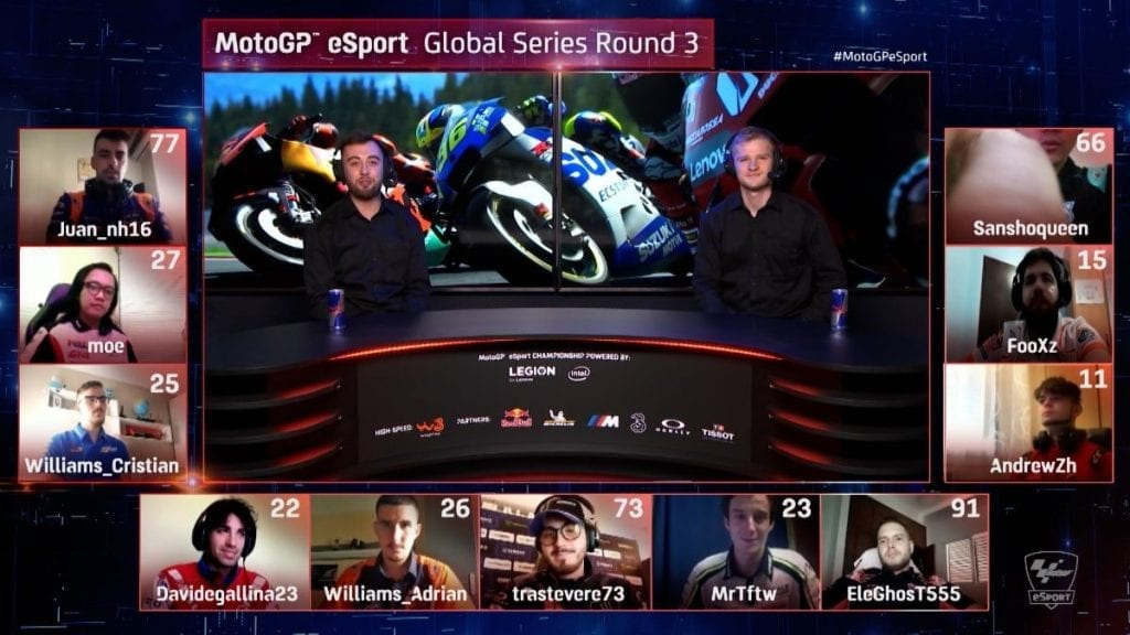 MotoGP eSport Global Series Round 3 with participant video feeds in small thumbnails.