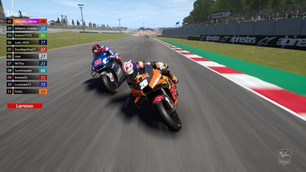 MotoGP eSport gaming still of bikes rounding a track