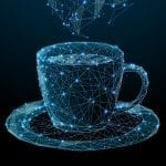 Coffee cup drawn with glowing lines and points, like an architectural schematic