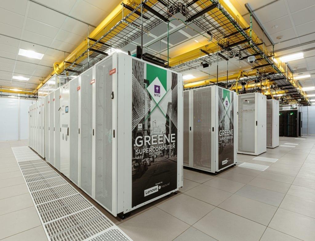 Wide shot of the corner of NYU's Greene Supercomputer - 68th greenest supercomputer in the world