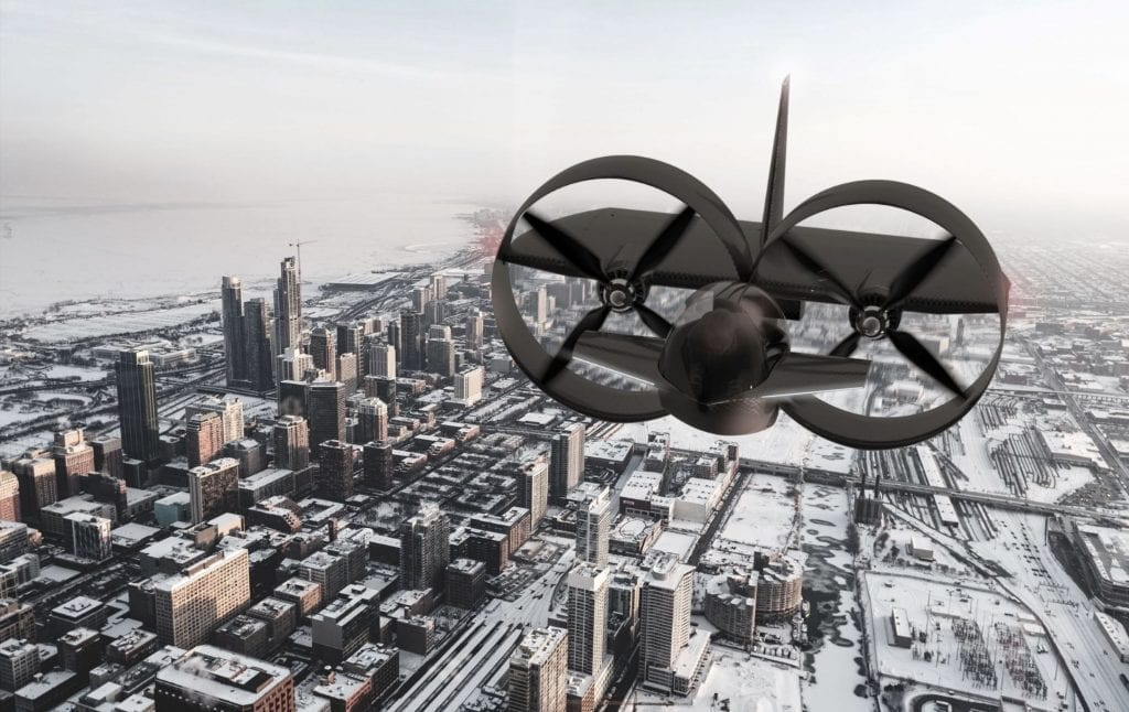 3D rendering of a prototype twin-turbine plane flying over a city