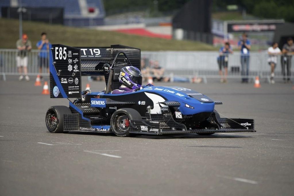 Electric Formula 1 vehicle prototype on a racetrack