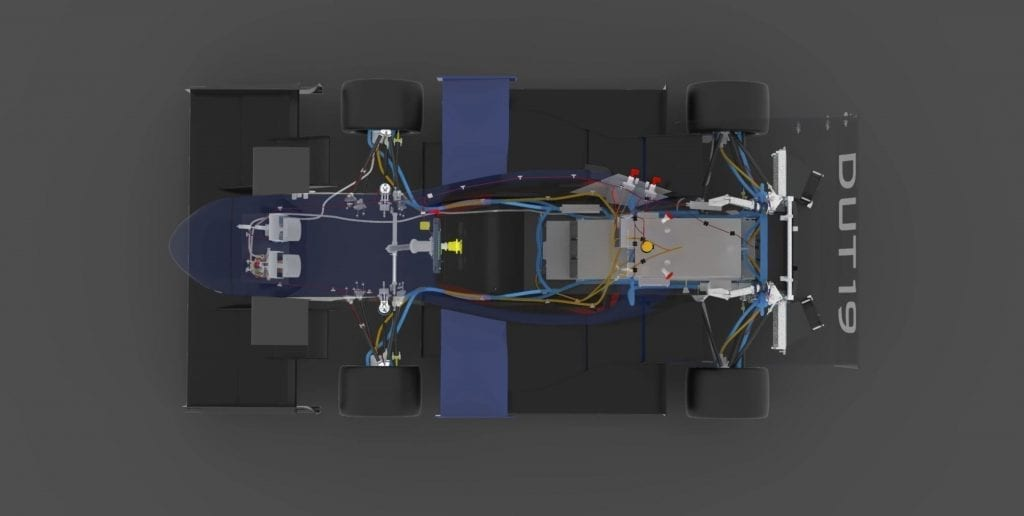 Electric wiring plan for a Formula 1 vehicle