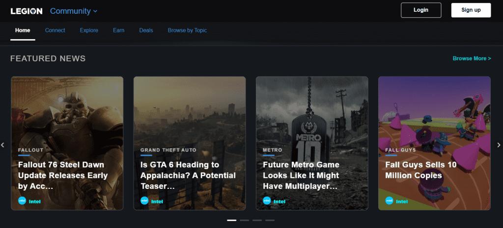 Screenshot of the Lenovo LEGION gaming online community