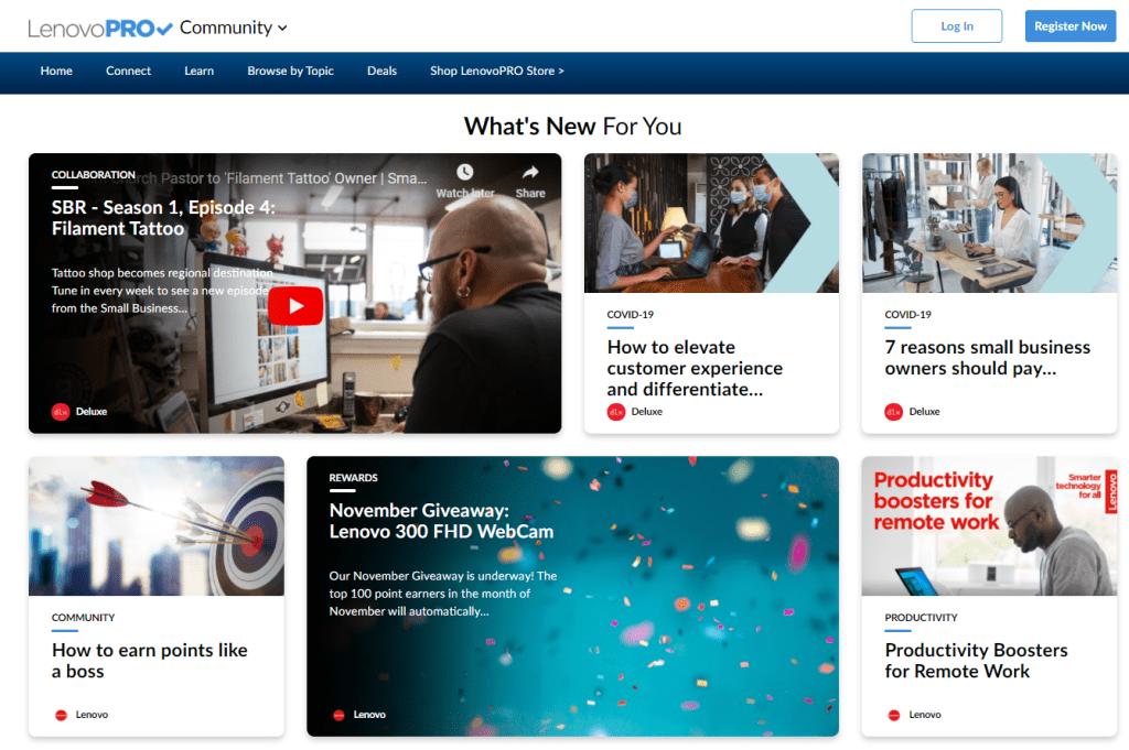 Screenshot of Lenovo PRO Community portal