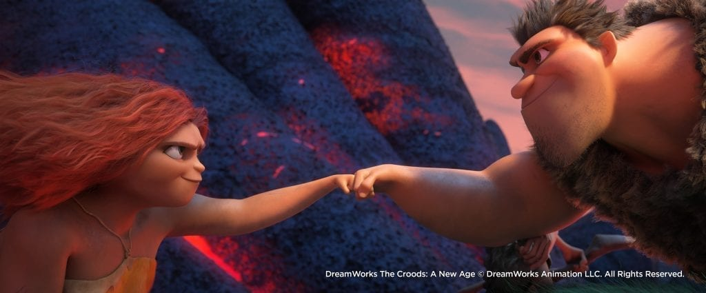"(from left) Thunk Crood (Clark Duke), Sandy Crood (Kailey Crawford) and Gran (Cloris Leachman) in DreamWorks Animation's ""The Croods: A New Age,"" directed by Joel Crawford."