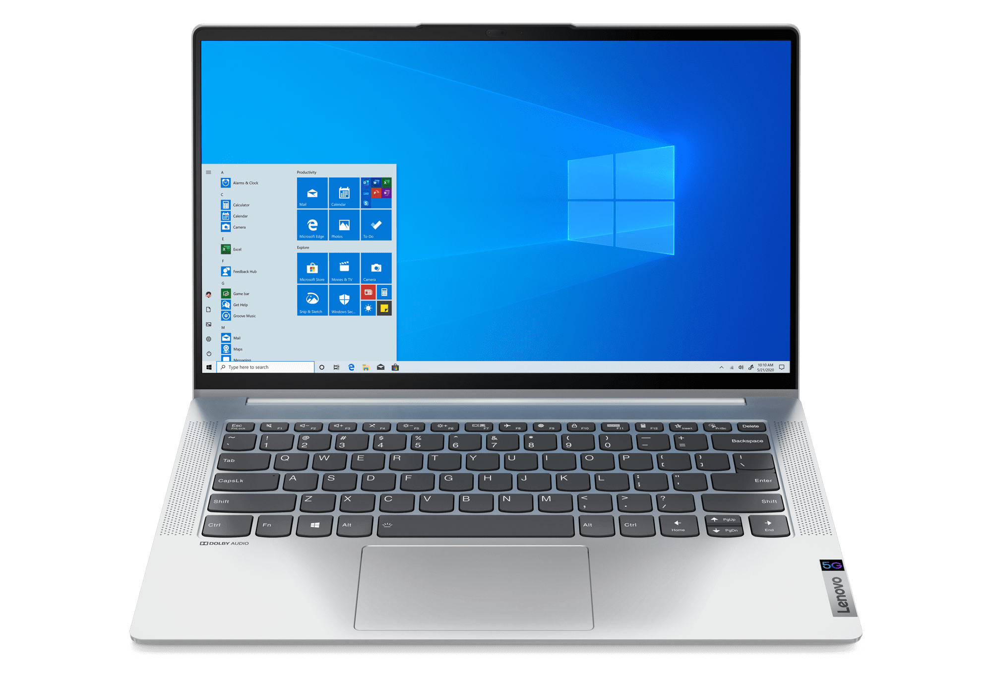 Lenovo IdeaPad 5G open front facing with Windows screen and keyboard visible