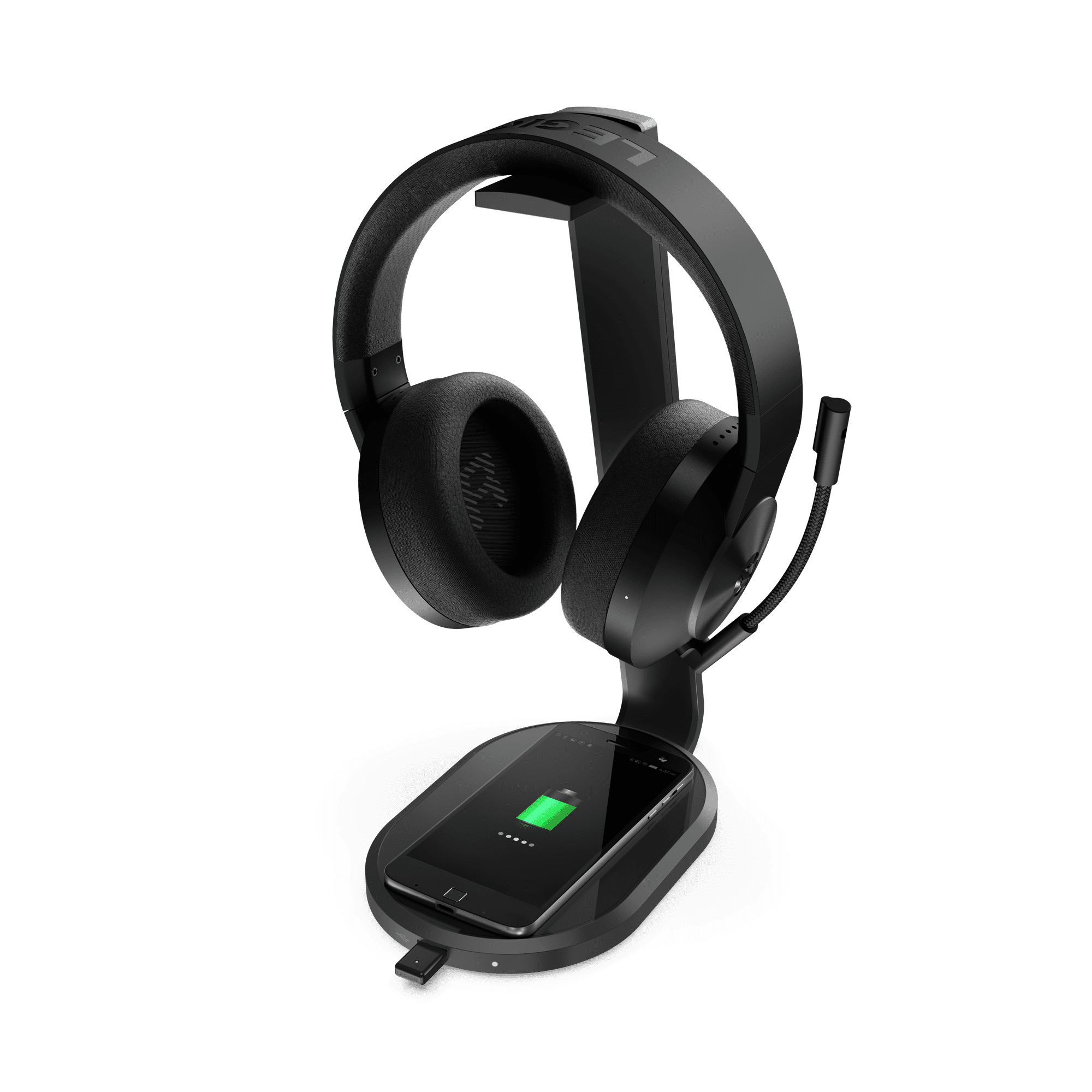 Lenovo Legion S600 Gaming Station_Right_w_Headphones_and_Smartphone