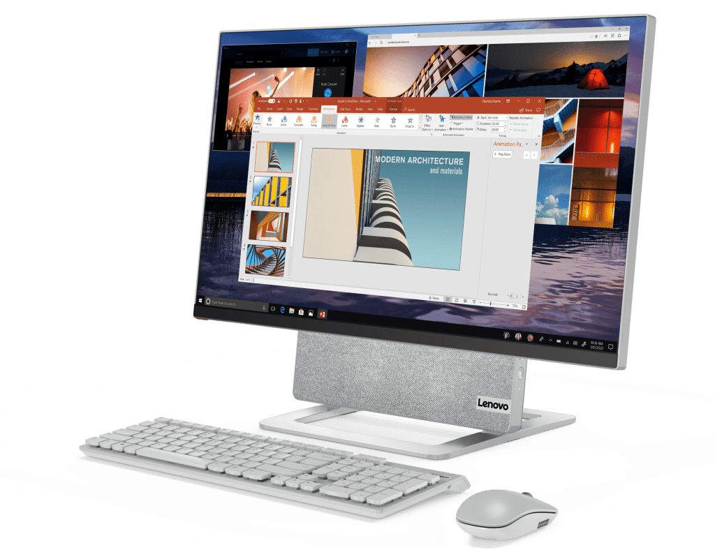 Lenovo Yoga AIO 7 in horizontal orientation with keyboard and mouse