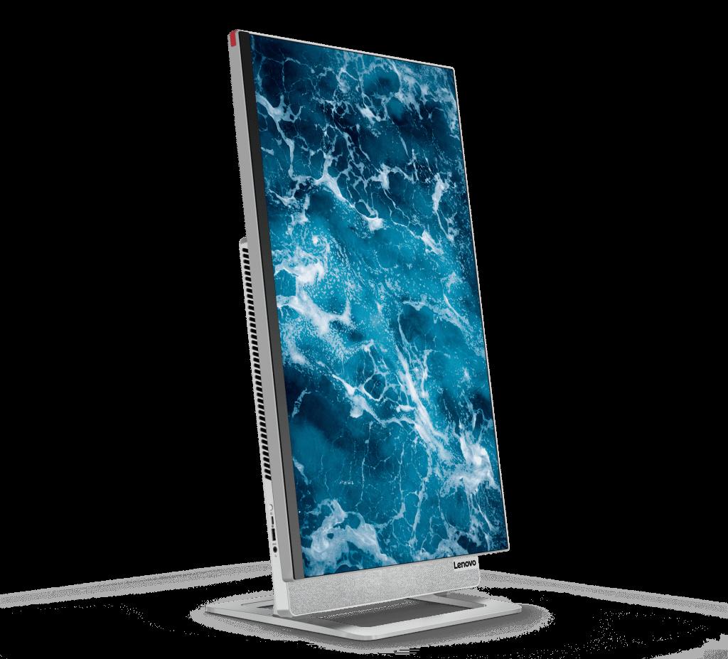 the new Lenovo Yoga AIO 7 desktop with Windows 10 flipped into a vertical position