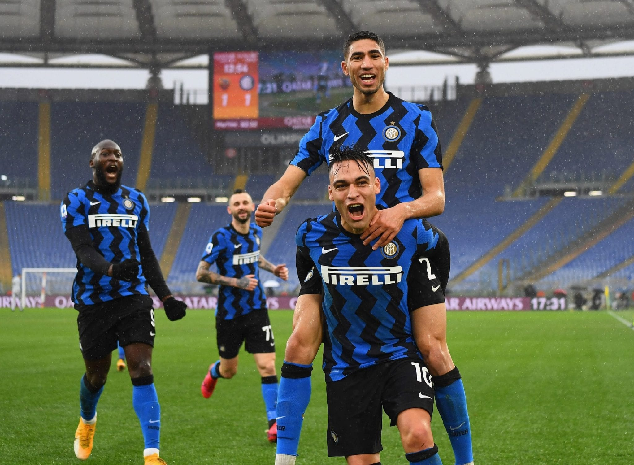 FC Inter teammates celebrating during a match
