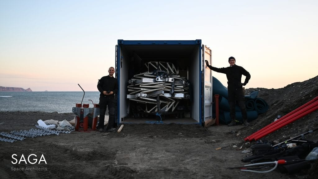 Lunark module folded and packed for transportation in a freight container.