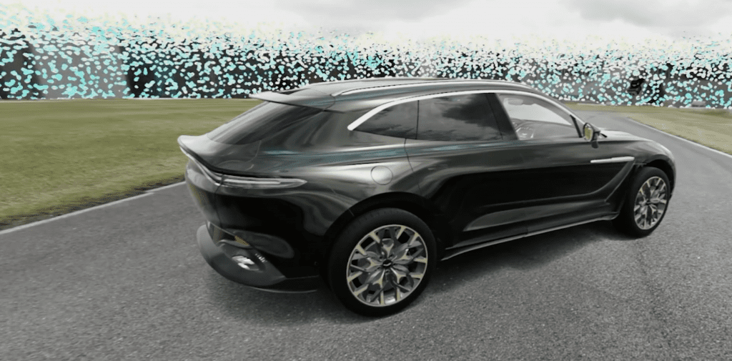 Rendering of an Aston Martin vehicle in a virtual environment.