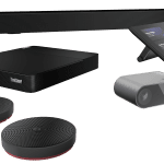 Lenovo ThinkSmart Core Room Kit with controller, ThinkSmart Cam and ThinkSmart Bar -- with additional table-top microphones.