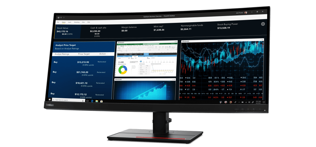Lenovo ThinkVision P34w showing multiple windows of data readouts.