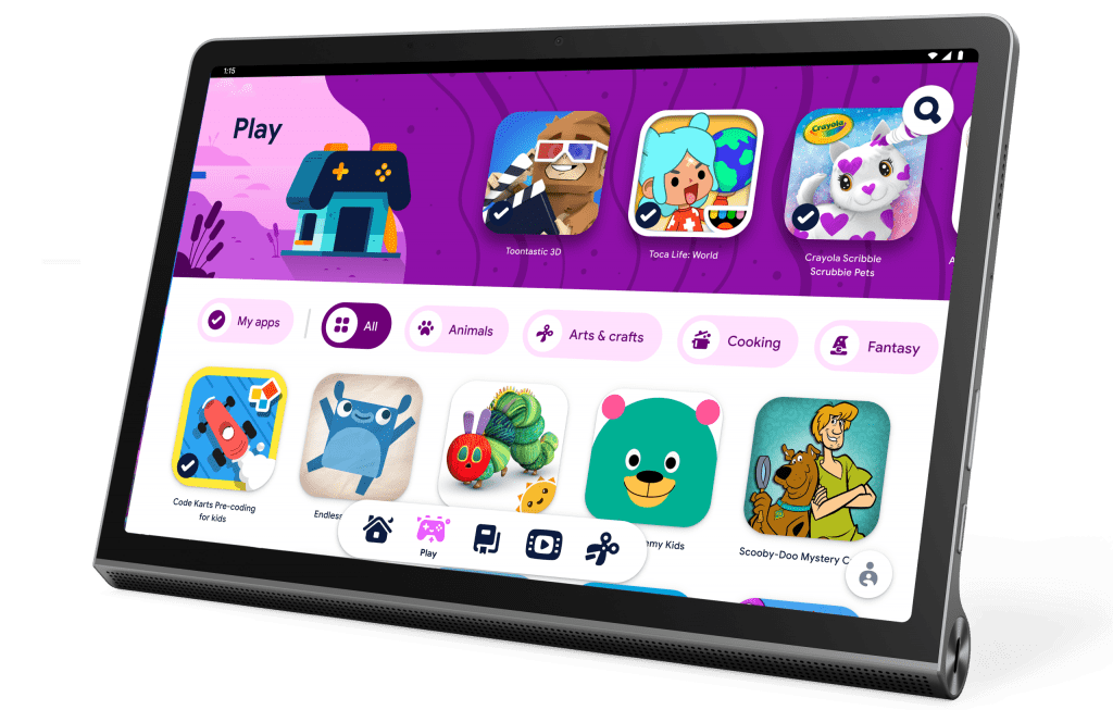The Yoga Tab 11 in stand mode featuring Kids Space from Google