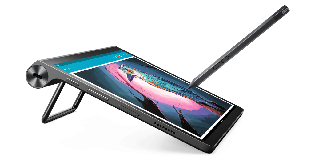 The Yoga Tab 11 in tilt mode with supported pen