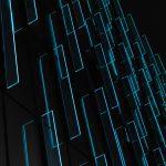 Lenovo brand image - rectangles of light on a dark background